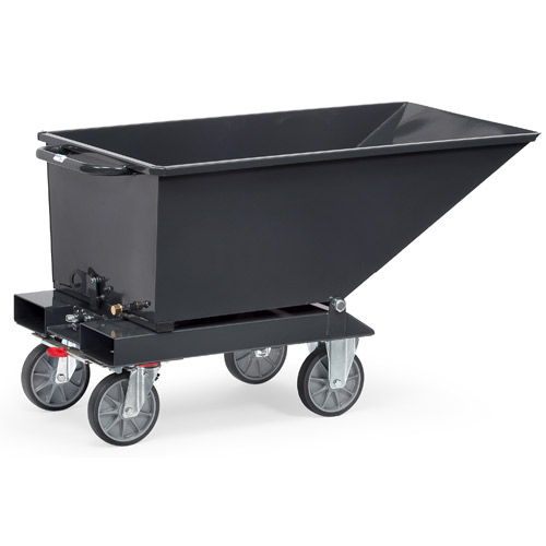 Skip bin trolley with forklift pockets and total brake - available in 4 sizes