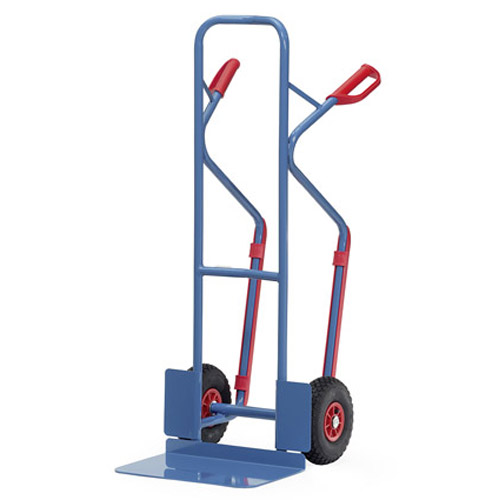 Double handle sack truck with Extra Large Toe plate and pneumatic wheels