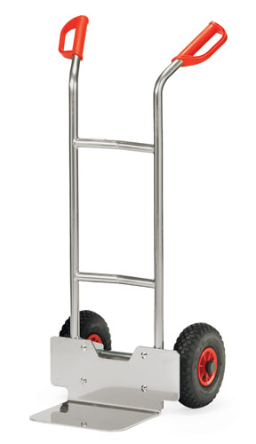 Aluminium Sack Truck with pneumatic tyres - Toe plate 250x320 mm