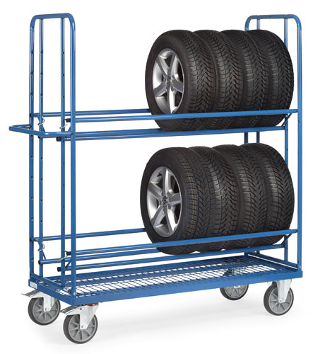 Tyre Racking Trolley with castors with non-marking TPE wheels
