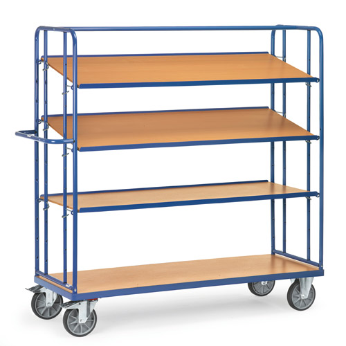 Shelved trolley with 3 detachable shelves, height 1800 mm