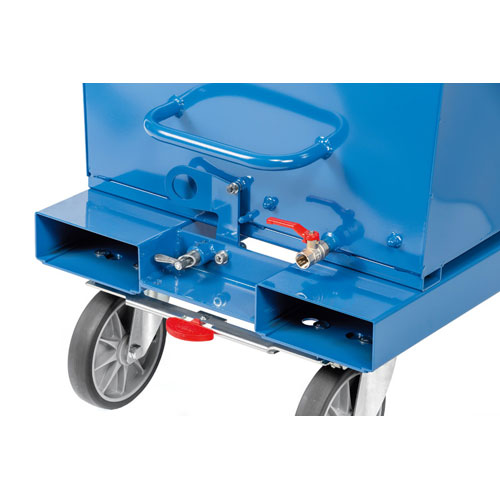 Skip bin trolley with forklift pockets, central brake system and drainage tap