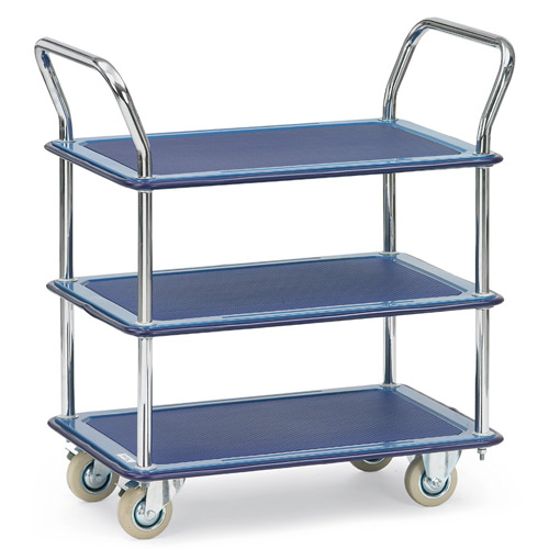 All-steel trolley with 3 shelves
