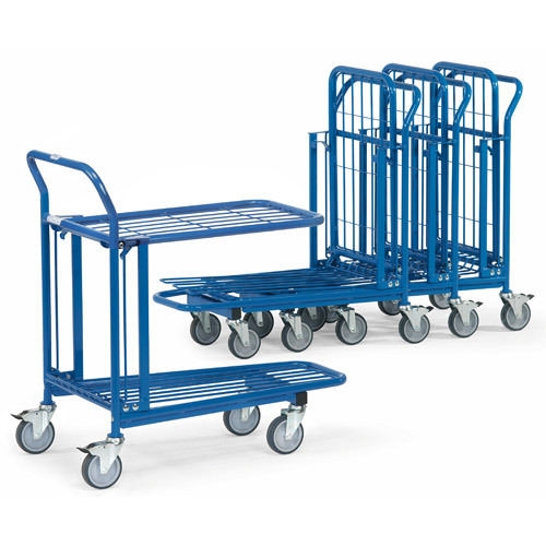 Warehouse trolleys with 2 platforms