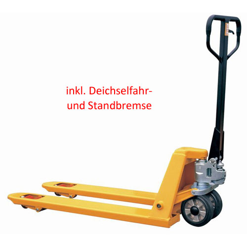Quick-Lift Pallet Trucks with  Driving-/and parking brake. Polyurethane wheels