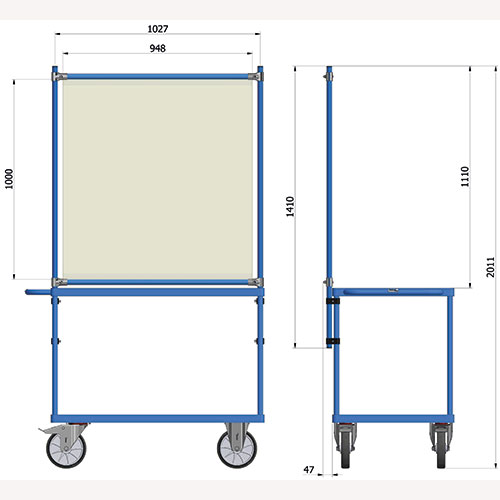 Table top cart with equipment for infection protection