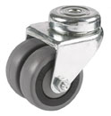 Double swivel castors, bolt hole, with rubber wheel and ball bearing