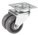 Double swivel castors with rubber wheel and ball bearing