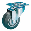 Laboratory swivel castors with highly elastic, solid rubber wheels +ball bearing