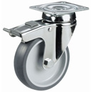 INOX Swivel castors with total brake, with TPE wheels and plain bearing