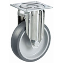 INOX Fixed castors with thermoplastic elastomer wheels and plain bearing