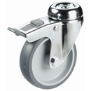 INOX Swivel castors, bolt hole, with total brake, with TPE wheels +plain bearing