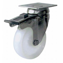 INOX Swivel castors with total brake, with polyamide wheels and plain bearing