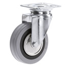 INOX Swivel castors with grey rubber wheels and plain bearing