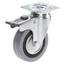 INOX Swivel castors with total brake, with grey rubber wheels + plain bearing