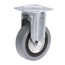 INOX Fixed castors with grey rubber wheels and plain bearing