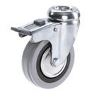 INOX Swivel castors, bolt hole, total brake, grey rubber wheels + plain bearing