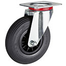 Swivel castors, wheels with puncture proof tyres, synthetic rim + roller bearing