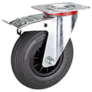 Swivel castors, total brake,wheels puncture proof tyres (Ø200mm rear brake)