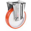INOX Fixed castors with polyurethane wheels and stainless steel roller bearing