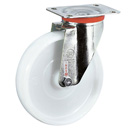 INOX Swivel castors with polyamide wheels and stainless steel roller bearing