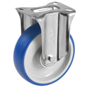 Soft-Blue Fixed castors with polyurethane wheels and ball bearing