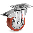 INOX Swivel castors, total brake,HEAT-Resistant silicone wheels, BB 250°C