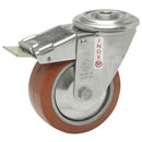 INOX Swivel castors bolt hole, total brake,HEAT-Resistant silicone wheels 250°C