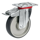 Swivel castors with total brake, with TPE wheels and roller bearing