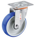 INOX Soft-Blue Swivel castors with polyurethane wheels and S/S ball bearing
