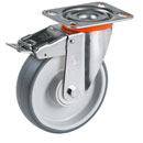Easy-Roll castors with DIRECTIONAL lock, with thermoplastic rubber wheels