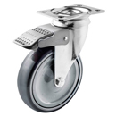Hospital swivel castors with total brake, with grey rubber wheels + ball bearing