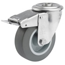 INOX swivel castor with total brake
