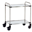 Stainless steel trolleys-available in 3 platform sizes with 2 shelves