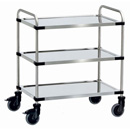 Stainless steel trolleys-available in 3 platform sizes with 3 shelves