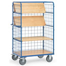 Shelf trucks with foldable shelves with 3 mesh sides + Push handle