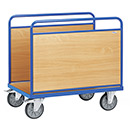 Bale trolleys ends made of derived timber material boards
