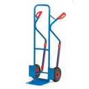 Double handle sack truck with Large Toe plate and pneumatic wheels