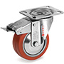INOX Heat resistant Swivel castor with total brake