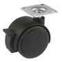 Furniture swivel castor Ø50mm with plate and brake
