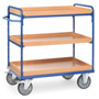 Shelved trolley with 3 boxes