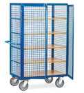 Cage cart with double wing doors, rod lock