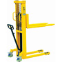 Hydraulic pallet stacker with quick lift